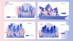 City park. Screen template for mobile smart phone, landing page, template, ui, web, mobile app, poster, banner, flyer. stock illustration