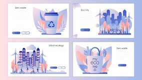 Urban ecology set. Zero Waste. Screen template for mobile smart phone, landing page, template, ui, web, mobile app, poster, banner royalty free illustration