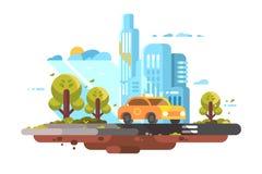City taxi service yellow car stock illustration