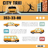 City Taxi Services Web Page Template. City taxi online services web page template with cost of the trip car types and telephone information flat vector Stock Photos