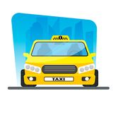 City taxi, yellow car on city background Royalty Free Stock Photography