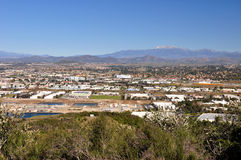 City of Temecula. Temecula, California is viewed from a hilltop with Mount San Jacinto showing in the distance Stock Photography