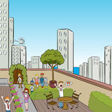 City Terrace Party. Detailed image of a crowd of friendly people at a garden terrace Stock Photo