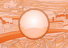 Ochre colored city Label (place for your text). City theme label (place for your text). Hand made  illustration Stock Photos