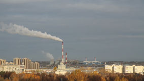 City and thermoelectric plant in the fall. Kazan, Russia stock video