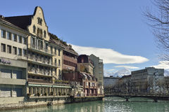 City of Thun with Aare river crossing through. City of Thun with Aare river crossing through with Swiss Alps in background, Switzerland Royalty Free Stock Photo