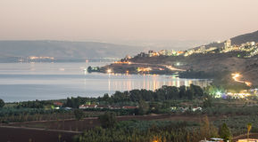 City of Tiberius - Israel. Night scene of Tiberius (tveria) on the sores of the Sea of Galilee Royalty Free Stock Photos