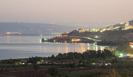 City of Tiberius - Israel. Night scene of Tiberius (tveria) on the sores of the Sea of Galilee Royalty Free Stock Photography