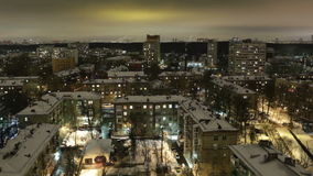 City timelapse at night. Moscow, aerial view. Wide shot, high angle. Royalty Free Stock Photography