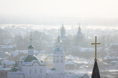 The city of Tobolsk. Winter time, February, views podporou part Royalty Free Stock Photos