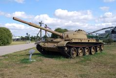 The average T-62 tank in a park complex of AVTOVAZ under the open sky. City of Togliatti. Samara region. Russia. August 29, 2015. The average T-62 tank in a Royalty Free Stock Images