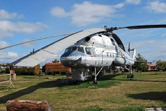 City of Togliatti. Technical museum of K.G. Sakharov. Exhibit of the museum military transport Mi-10 helicopter crane. USSR. City of Togliatti. Samara region Royalty Free Stock Photos