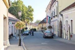 City of Tokaj, Hungary. Tokaj, Hungary - October 16, 2018: Rakoczi street. On the right you can see the local government Office royalty free stock photos