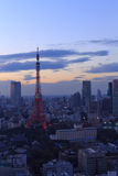 The city of Tokyo and Tokyo Tower Olympic illumination Stock Photo