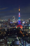 The city of Tokyo and Tokyo Tower Olympic illumination Stock Image