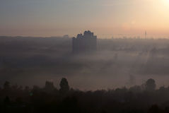 City - the top view, morning fog Stock Photography