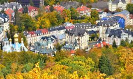 City Top View Picturesque Buildings. Small town in Czechoslovakia. View from the hill in autumn. Karlovy Vary, October 2017 stock photography