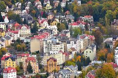 City Top View Picturesque Houses. Small town Karlovy Vary in Czech Republic. View from the hill in autumn. October 2017 stock images