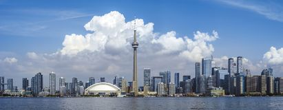 City of Toronto on summer day panorama. Panoramic photo of the cityscape of Toronto, Ontario taken from Centre Island royalty free stock images