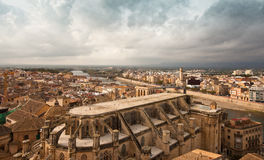 The city of Tortosa and the Ebro river Royalty Free Stock Photos