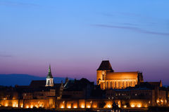 City of Torun Old Town Skyline at Twilight Stock Photography