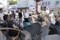 CITY TOUR WITH BABY PRAMS Stock Photo