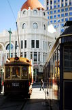 City tour trams. In the centre of Christchurch City, New Zealand Stock Photos