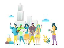 City tour with travel guide, vector illustration. Group of tourists travelers with map guidebook and backpacks. Tour guide services concept royalty free illustration