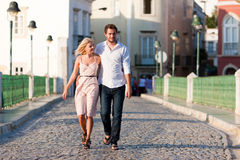 City tourism - couple in vacation on bridge Stock Image