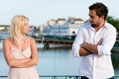 City tourism - couple in vacation having discussio Royalty Free Stock Photo