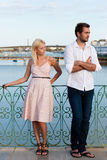 City tourism - couple in vacation having discussio Stock Photography