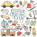 City tourist necessities: colorful hand drawn doodle vector set Royalty Free Stock Image