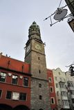 City Tower in Innsbruck. The church tower on the main square in Innsbruck Royalty Free Stock Images