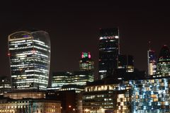 City Towers London at night Royalty Free Stock Photos