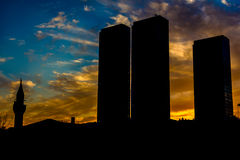 City Towers with Mosque Stock Image
