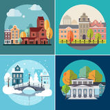 City and Town Buildings, Landscapes Stock Photo