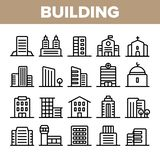 City, Town Buildings Linear Icons Vector Set stock illustration
