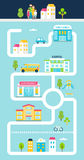 City or Town Facilities Infographics Road Map Style Template. Vector Illustration Stock Photo