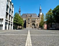 City or town hall of Aachen in Germany stock photos