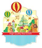 City town with hot air balloon card Royalty Free Stock Photography