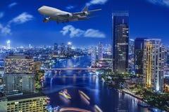 City town at night in Bangkok Royalty Free Stock Photography