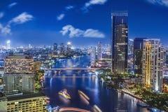 City town at night in Bangkok Stock Photos