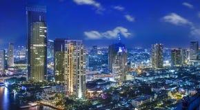 City town at night in Bangkok Royalty Free Stock Photos