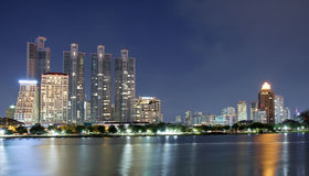 City town at night, Bangkok, Thailand Royalty Free Stock Image