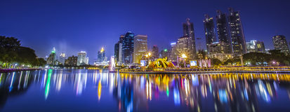 City town at night, Bangkok, Thailand Stock Photo