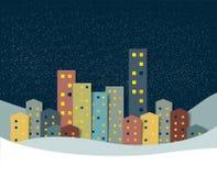 City, town night winter snow panorama. Stock Photos