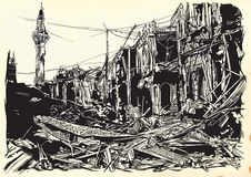 City, town, ruins - war place. Islamic World. An hand drawn vector. An hand drawn vector illustration - War place. Ruins of an middle east town, city. Drawing stock illustration