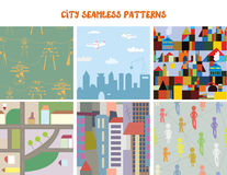 City and town seamless patterns set Royalty Free Stock Photos