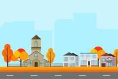 City Town street view, buildings in autumn season. Vector Mapple leaves backgrounds. City Town street view, buildings in autumn season. Vector Mapple leaves Royalty Free Stock Photo