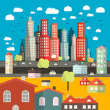 City - Town - Vector Easy Flat Design Illustration Royalty Free Stock Photo